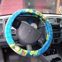 1 Set of Nickelodeon Teenage Nutant Ninja Turtle Line  Print Seat Covers and the  Steering Wheel Cover  Custom Made.
