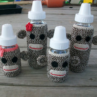Sock Monkey Baby Bottle Cover crochet PATTERN PDF