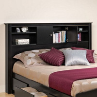 Stylish Bookcase Headboard With Four Open Shelves Bedroom Furniture Black Finish