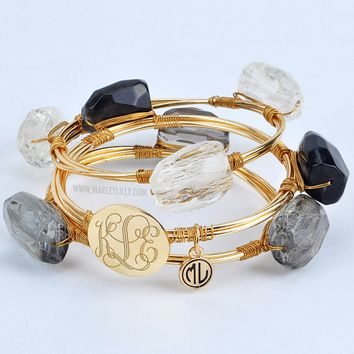 Monogrammed Black Wire and Stone Bangle Set | Bracelets | Marley Lilly