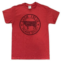 Farm Fresh Cow Vintage T-Shirt Funny Humor Novelty Tee - Heather Red S - 2XL