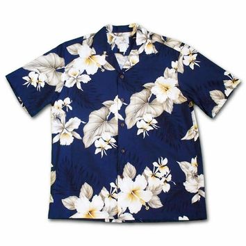 Hibiscus Joy Navy Hawaiian Cotton Shirt