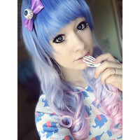 {Free ship}Lolita Pastel Blue Gradient wig SP130067