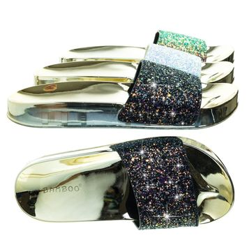 Creative02 Black Red Glitter Holograph Glitter Slipper, Metallic Molded Footbed, Waffle Outsole
