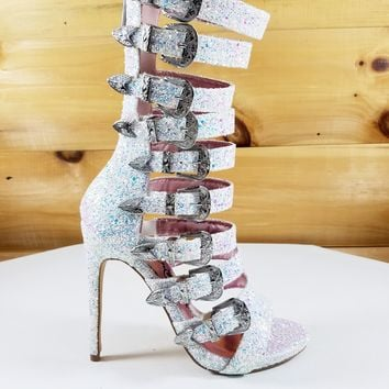 "Wavy White Ice Glitter Multi Buckle Strap High Heel Shoes - 4.75"" Heels"