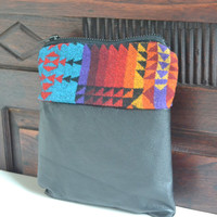 Pendleton Wool Zippered Pouch - Wool and Leather Pouch - Geometric Native American Pouch