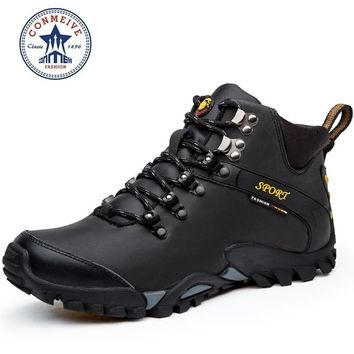 new hiking shoes outdoor boots senderismo sport sneakers men climbing waterproof sportive lace-up genuine leather Rubber