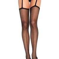 2248L Black Lace Garterbelt and Sexy Stockings Set for Sexy Iconic Look