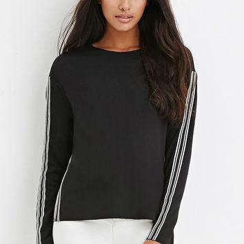 Striped Trim Side-Slit Top