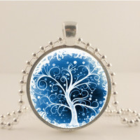 Tree Of Life glass and metal Pendant necklace Jewelry.