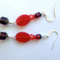Red Beaded Dangle Earrings