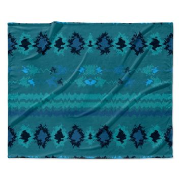 "Nina May ""Turquoise Nava"" Teal Tribal Fleece Throw Blanket"
