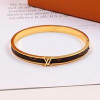 Louis Vuitton LV Fashion Women Men Titanium Steel Bracelet Couple Bracelet(3-Color) Golden I-HLYS-SP
