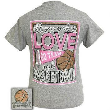 Girlie Girl Originals Preppy All You Need Is Love And Basketball T-Shirt