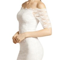 Lookbookstore Semi Sheer Sexy Off Shoulder Stretch Lace Bodycon White Dress