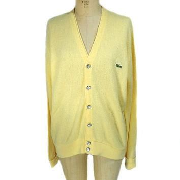 1970s Izod Lacoste Cardigan Sweater / Yellow / Preppy / Athletic Sweater / Mens Vintag