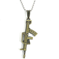M16 Assault Rifle Necklace Dog Tag Chain Gun by MagicMetal on Etsy