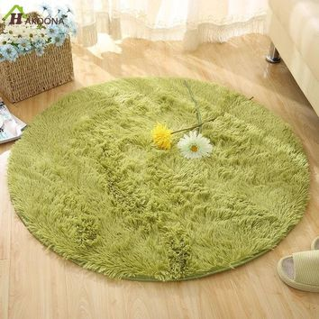 HAKOONA Round Solid Color Carpet For Living Room Large Size Rugs Home Decoration