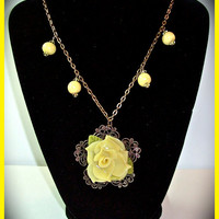 Sunny Yellow Rose of Texas Polymer Clay Necklace 20 in. Flower Pendant Antique Gold Filigree Handcrafted Flower Necklace Yellow Rose
