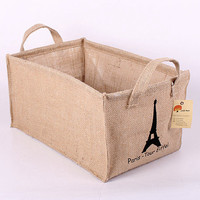 Linen Storage Basket, Recycle Laundry Basket, Paris, Tour Eiffel