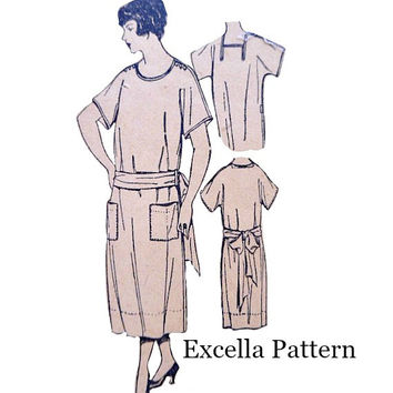 1920's Ladies Apron Dress Pattern Slip On with Neckline Options Kimono Sleeves Vintage Excella E904 Sewing Patterns Factory Folds Bust 36
