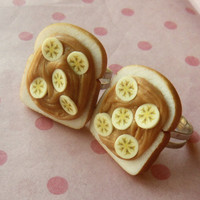 peanut butter and banana best friend rings polymer clay