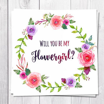 Flowergirl Card Printable, Will You Be My Flowergirl, Wedding, Pink Flowers, Boho, Bohemian Wedding, Flower Greeting Card, Wreath, Peony