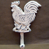 Rooster Shabby Chic Off White Cream (Ecru) Cast Iron Wall Coat Towel Pet Leash Hook Rustic French Country Kitchen Bathroom Hook