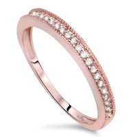 1/4CT Diamond Womens Wedding Ring 14K Rose Gold Size 4-9
