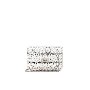 Valentino Small Metallic Quilted Rockstud Spike Shoulder Bag in Silver | FWRD