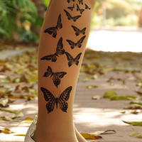 Tattoo Tights / Pantyhos / stockings - BUTTERFLY -  size  S / M / L / XL  full length tattoo leggings --  light mocha.