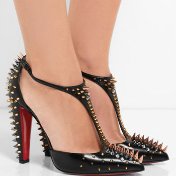 Christian Louboutin - Goldostrap 100 spiked leather pumps