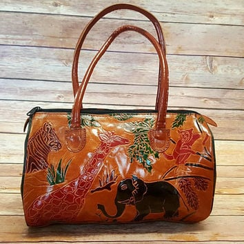 Vintage Tooled Leather Purse - Safari Animal Design - Made in India - Top Handle Bag - Boho Fashion - Hippie Style - Elephant Giraffe Zebra