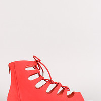 Bamboo Lynna-81 Nubuck Lace Up Open Toe Flat Sandal