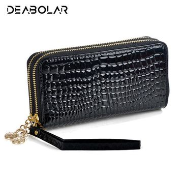 2017 New Fashion Women Wallet Brand Long Double Zipper Design Woman PU Leather Wallets High Quality Female Purse Clutch Bag
