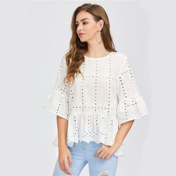 White Fluted Sleeve Eyelet Embroidered Blouse Ladies 3/4 Bell Sleeve Tiered Blouse With Ruffle Autumn Round Neck Boho Top