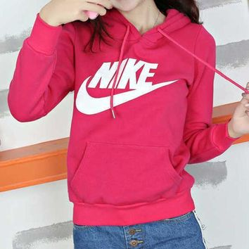 PEAPJ1A Nike tide card fashion women's casual sweater thin  Red