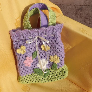 Crocheted hand bag, OOAK, Crocheted bag