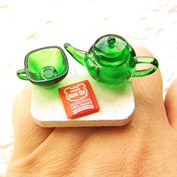 Cute Tea Ring Green Teapot Cup by SouZouCreations on Etsy