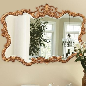 Traditional Antique Rectangle Wall Mirror (Gold)