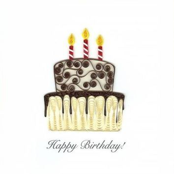 Quilling Card Happy Birthday Cake Greeting Card