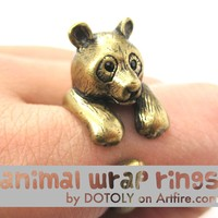 Large Panda Bear Animal Wrap Around Hug Ring in Brass - Size 4 to 9 Available