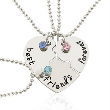 """Best Friends Forever"" Necklace, Engraved Puzzle Friendship Pendant , Set of 3"