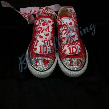 red low one direction converse with genuine swarovski crystals and one direction laces