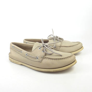 Boat Shoes Vintage 1980s Sperry Topsider White Leather men's size 9 M