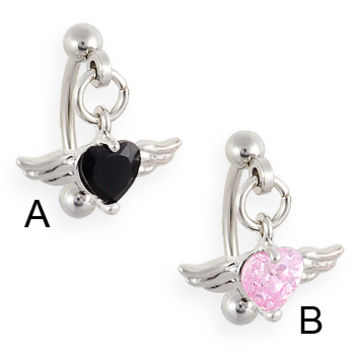 Curved barbell with dangling jeweled heart with wings