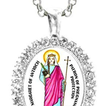 St Margaret of Antioch Patron of Pregnancy Protection Cz Crystal Silver Necklace Pendant
