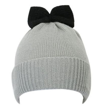 Bow Pattern Knit Winter Cap