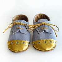 Baby Boy or Girl Shoes - Gray grey Canvas with Brogued Gold Leather Crib shoes