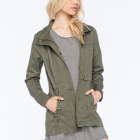 Full Tilt Hooded Twill Womens Anorak Jacket Olive  In Sizes